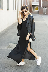 Emily S - Leather Jacket, Paint It Red Black Maxi Dress, Ray Ban Aviator Sunglasses, White Sneakers - Black Maxi