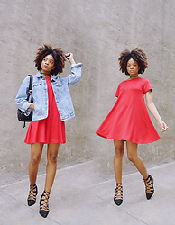 Alicia Nicholls - Forever 21 French Terry T Shirt Dress, Topshop Jil Ghillie Heels - Little Red Dress