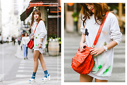 Miu PHAM - Urban Outfitters Shirt Dress, Givenchy Pandora Bag, New Look Leather Sandals - Pandora bag
