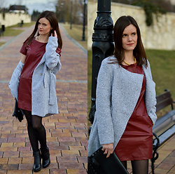 Fashionelja Ja -  - BURGUNDY LEATHER DRESS