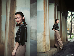 Pxkin - White House And Black Market Wide Leg Pants, Loose Chiffon Top, Black Strap Heels, Statement Earring - Sleek and Flare