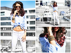 Jasmin Kessler - Top, White Jeans, Jewellry, Sunglasses - SUMMER? LOVES WHITE & DENIM