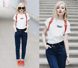 Chloe From The Woods - Sheinside White Short Sleeve Letters Print Crop T Shirt, Sheinside Navy Pockets Button Denim Pant, Sheinside Red Zipper Pu Backpack - RED LIPS TODAY