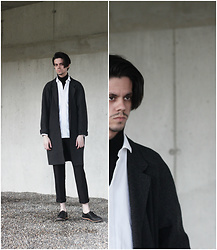 Martin Tichy - Cos Shirt, H&M Trend Coat, Thrifted Pants, H&M Shoes - CLOSE