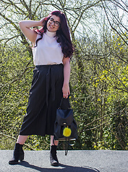 Olivia Lynn - Asos High Neck Top, New Look Pinstripe Culottes, Primark Chelsea Boots, New Look Faux Leather Backpack, Dune Pom Pom - Pinstripes & Polo Part 1