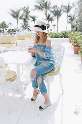 Carolina Benoit - Joa Shoulderless Top, Lucky Brand Denim, Tory Burch Shoes - Denim On Denim