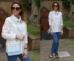 Vale ♥ - Choies Cat Collar Shirt, Lazzari Bag, Bikkembergs Glitter Sneakers - Cat collar shirt