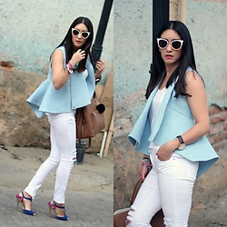 Anyelina G. - Just Usa White Destroyed Jeans, Shoedazzle Color Blocking Heels, Zara Bag - Peplum Vest