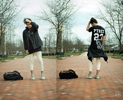 Corey Z - Agora Praying Hands Coaches Jacket, Pyrex Visions V T Shirt, Asos Extreme Longline Shirt, Other Uk Moto Joggers, Adidas Yeezy Boost 350 Oxford Tan, Hershel Little America Backpack - Visions of Pyrex