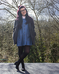 Olivia Lynn - Primark Charcoal Wool Coat, Asos White Boxy Shirt, Charity Shop Denim Dress, Primark Suedette Chelsea Boots - Denim Dress
