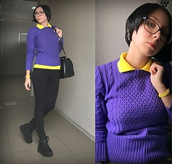 Jane V.I. - Fitness Tracker, Black Big Bag, Violet Sweater, Burberry Yellow Polo Shirt, Black Leggins, Platform Black Leather Snickers With Rivets - New color combination for casual outfit