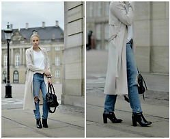 Cecilie Krog - Public Desire Glossy Boots, H&M Girlfriend Jeans, Gina Tricot Trench Coat, Asos Belt, Day Birger Et Mikkelsen White Tee - THOSE GLOSSY BOOTS