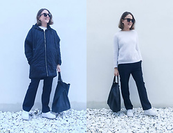 Trini Gonzalez - Céline Sunglasses, The Kooples Sweater, Acne Studios Pantalones, Céline Bag, Nike Sneakers, Maje Coat - Navy and white