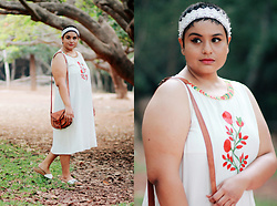 Ragini R - Melange White Embroidered Dress, Asos Lace Crown - Bohemian Summer
