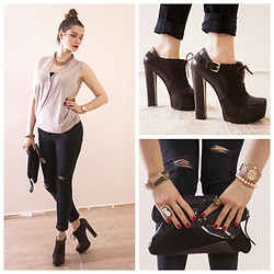 Illona.Verdi - Zara Jeans, Mario Muzi Heels, Michael Kors Watches - Nude colors and brown
