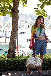 Whitney Valverde -  - Rainbow Top and Long Denim Shorts