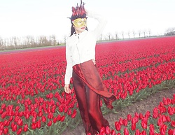 Hanna From HOLLAND - Bershka Jacket, Silk Long Handmade Dress - Tulips Queen