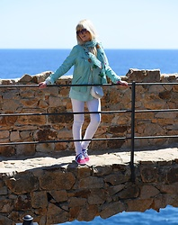 Tijana J.D - Firmoo Purple Sunglasses, Mint Scarf, C&A Mint Leather Jacket, C&A Mint Sweater, Paco Martinez White Bag, H&M White Skinny Jeans, John Smith Pink Sneakers - Tossa de Mar