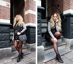 Lilia - Brandy Melville Usa Bow Tie Top, Comegetfashion Lock Bag, Alexander Wang Gabi Boots, H&M Leather Vest, Choies Button Down Skirt - Amsterdam