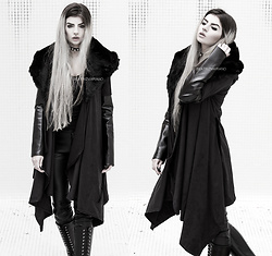 Beatriz Mariano - Church Of Sanctus Asylum Coat, Demonia Trashville 502, Killstar Crystal Leather Choker - ASYLUM