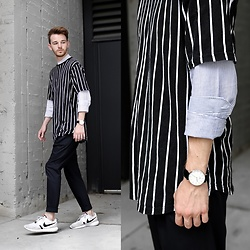 Drew Scott - Forever 21 Striped Tee, Zara Seersucker Button Down, Daniel Wellington Minimal Watch, Zara Pleated Trousers, Nike White Nikes - New Proportions