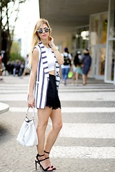 Amanda Tur - Rebecca Minkoff Strappy Sandals, Henri Bendel Bedford Drawstring Bucket Bag, Zara Lace Shorts, Maruchi Striped Vest, Ray Ban Clubmaster Rayban, Baublebar Occult Collar Necklace - Vests