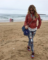 Zorione Arego - Valentino Sneakers, Fendi Monster, Chanel Handbag - Jeans with patches