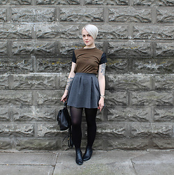 Sarah H - Vince Shirt, H&M Skirt, 14th Union Shoes, Coach Pack - Leather Accents