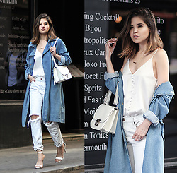 Adriana Gastélum - Storets Denim Trench Coat, Cami Nyc Silk Camisole, One Teaspoon Ripped White Jeans, Steve Madden Ankle Sandals, Ferragamo Jody Bag, See More Outfits On My Blog: - Silky white