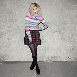 Monika Sekowska - Second Hand Shop Pastel Vintage Sweater, Second Hand Shop Vintage Tartan Skirt, Unif Black High Logo Socks, Tally Weijl Chunky Platform Boots - Pastel Pink & Purple Sweater
