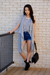 Kimberly Kong - Banana Republic Sleeveless Vest, Chaser Striped Tank Top, Aeropostale High Waisted Shorts, Nine West Distressed Boots, Chanel Quilted Crossbody Bag, Amiclubwear Body Chain - The Striped Tank