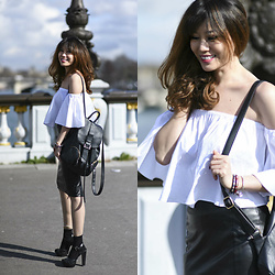 FromAmandaWithLove - Zara White Fluttering Top, Asos Pencil Skirt In Leather, Minelli Strappy Heeled Sandals, Pieces Leather Backpack, Calzedonia Black Socks - Fluttering top and leather