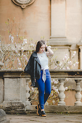 Tessa Holly - Miss Selfridge Tie Front Top, American Apparel High Waist Jeans, Monki Cork Shoes, River Island Faux Leather Jacket - Blue Jean Baby