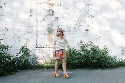 Britnie Harlow - Amuse Society Fringe Sweater, Show Me Your Mumu Dress, Francesca's Chunky Sandal - Spring fever