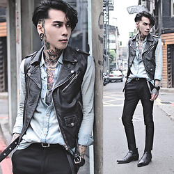 IVAN Chang - Vintage Leather Javket, Zara Shirt, Asos Vest, Asos Pants, Asos Boots, Klasse14 Watch - 300416 TODAY STYLE