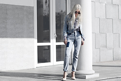 Krist Elle - Znu.Com Stripped Shirt, Wholesale7. High Waisted Boyfriend Jeans, Wholesale7. Beige Pumps Outfit, Wholesale7 Ripped Denim Jacket Womens, Zerouv Mirrored Lenses Sunglasses - All denim look