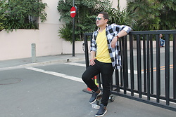 Aris Theo Rivera - Dickies Sunnies, Mango Man T Shirt, Mango Man Jeans, Zara Shirt, G Star Raw Boots - YELLOW & CHECKED