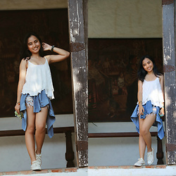 Nesrianne Buyco - Forever 21 White Spaghetti Straps Sleeveless Lace Top, Lee Denim Button Down Shirt, Wrangler Distressed Denim Shorts, Converse Classic All Star Sneakers - A Day At The Museum