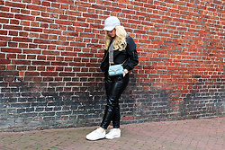 Lilia - Adidas Baseball Cap, Newchic Baseball Jacket, Liu Jo Cross Body Bag, H&M Leather Joggers, Zara Striped Croptop, Adidas White Sneakers - Casual