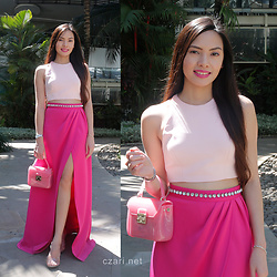 Czari Denise - Furla Small Pink Jelly Candy Bag, Transparent Shoes Heels, Fuchsia Structured Long Skirt With Slit, Pink Crop Top Racerback - Like a Pink Princess