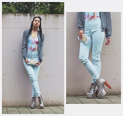 Tram Anh - H&M Head Band, New Yorker See Through Bomber Jacket, Black Milk Clothing Candy Kingdom Bodysuit, Finn Purse, American Apparel High Waist Jeans, Jeffrey Campbell Shoes Multiglitter Litas - The Last Boy and Girl in the World