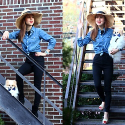 Beauty Mark Lady - Maje Jeans, Stuart Weitzman Jelly Flats, Kate Spade Sunhat - SPRING CASUAL