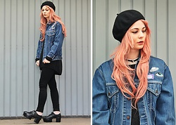 Katharina K. - Levi's® Denim Jacket, Skinny Dip Patches, &Otherstories Shoes - Pink Hair Don't Care