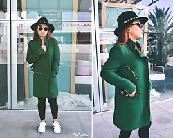 Ojie Papalli - Zara Coat, Peacock Fedora Hat, Addidas Shoe, Boohoo Sunglasss - Green Day