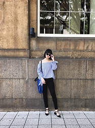 ERIKA N - Zara Cat Eye Sunglasses, Zara Blue Bag, Zara Lace Up Heels, Off The Shoulder Top - Off the shoulder