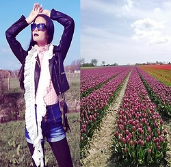 Hanna From HOLLAND - Coolcat Jacket, Handmade Scarf From Nice Dutch Lady, Coolcat Shorts, I'm A Fan Of Tulips Fields <333 - Tulips fan with handmade scarf