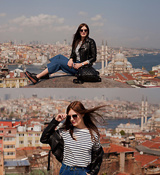Viktoriya Sener - Romwe Jacket, Romwe Jeans, Light In The Box Boots, Romwe Tee - ROOF WITH A VIEW