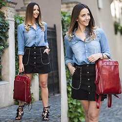 Manuella Lupascu - Choies Denim Shirt, Choies Studded A Line Skirt, Amiclubwear Gladiator Sandals - Happy Easter