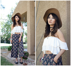 Atsuna Matsui - Poshsquare Navy Jasmine Printed Wide Leg Culottes, Goorin Brothers Everyday Taupe Ms. Danke, 25th St Whitney Top, Nasty Gal - Gypsy Girl at Coachella