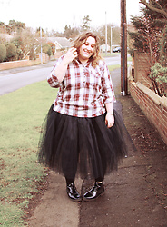 Kitty Wood - Navabi Plaid Cotton Shirt, Tutu Factory Black, Yours Clothing Black Chelsea Boots - An Awkward Tutu